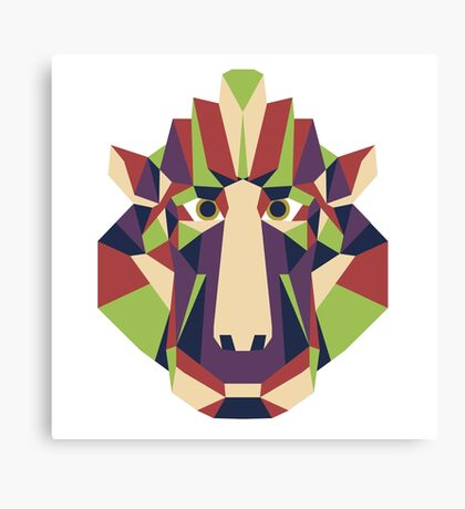 Monkey head - low poly gibbon. Canvas Print