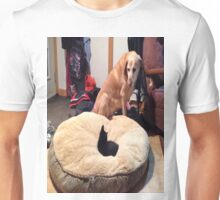 He's been here about a week and at 9 weeks old, has managed a power move on the dogs bed. Unisex T-Shirt