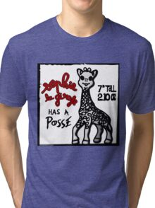 Sophie la Girafe Has A Posse Giraffe Retro Tri-blend T-Shirt