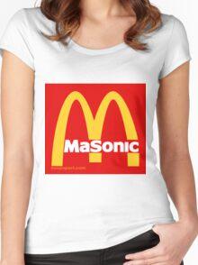 Masonic Freemason McDonald's Esoteric Symbol Women's Fitted Scoop T-Shirt