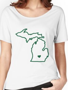 Green & White Women's Relaxed Fit T-Shirt