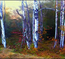 Halloween Birches by Wayne King