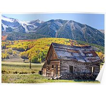 Rustic Rural Colorado Cabin Autumn Landscape Poster