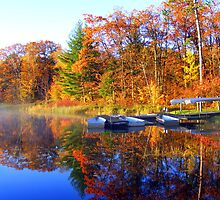 Fall Boating Sunrise by Mark Hudon