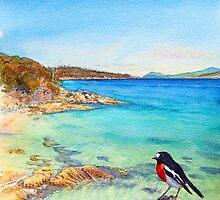 Scarlet Robin on Painted Cliffs, Maria Island by melhillswildart