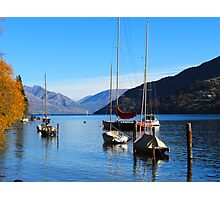 Colourful boats in Queenstown lake, New Zealand, NZ Photographic Print