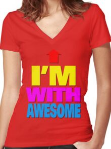 I'm with awesome Women's Fitted V-Neck T-Shirt