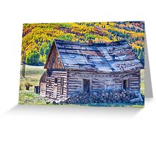 Rocky Mountain Rural Rustic Cabin Autumn View Greeting Card