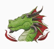 Green Dragon with silver Horns and red frills by maugryph