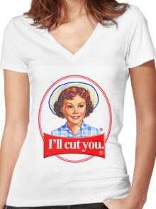 Little debbie-I'll cut you Women's Fitted V-Neck T-Shirt
