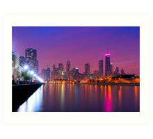 Rise Up - Chicago Skyline at Night Art Print