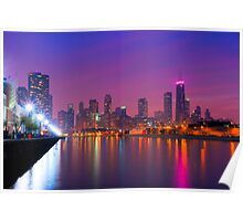 Rise Up - Chicago Skyline at Night Poster