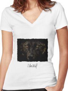 Midnights Gaze - Black Wolf Wild Animal Wildlife Women's Fitted V-Neck T-Shirt