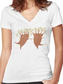Dancing Trees Women's Fitted V-Neck T-Shirt