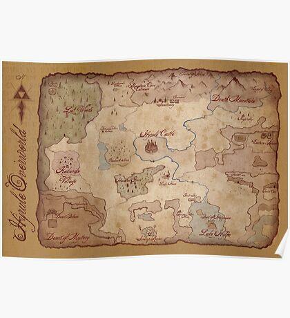 Hyrule Overworld Map - Legend of Zelda: A Link to the Past Poster