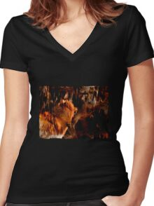 Alpha Male, Wolf Challenge, Battling Wolves Women's Fitted V-Neck T-Shirt