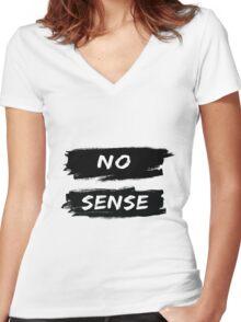 NO SENSE Women's Fitted V-Neck T-Shirt