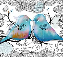 Turquoise Love Birds by © Karin Taylor