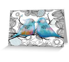 Turquoise Love Birds Greeting Card