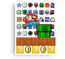 NES Mario 8-Bit Nintendo Characters Ugly Sweater Design Canvas Print