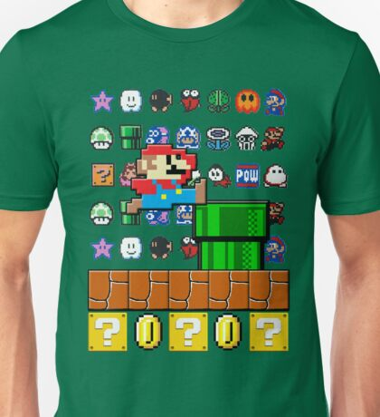 NES Mario 8-Bit Nintendo Characters Ugly Sweater Design Unisex T-Shirt