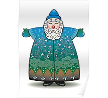 Stylized Blue Santa Claus Poster