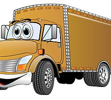 Box Truck Brown Cartoon by Graphxpro