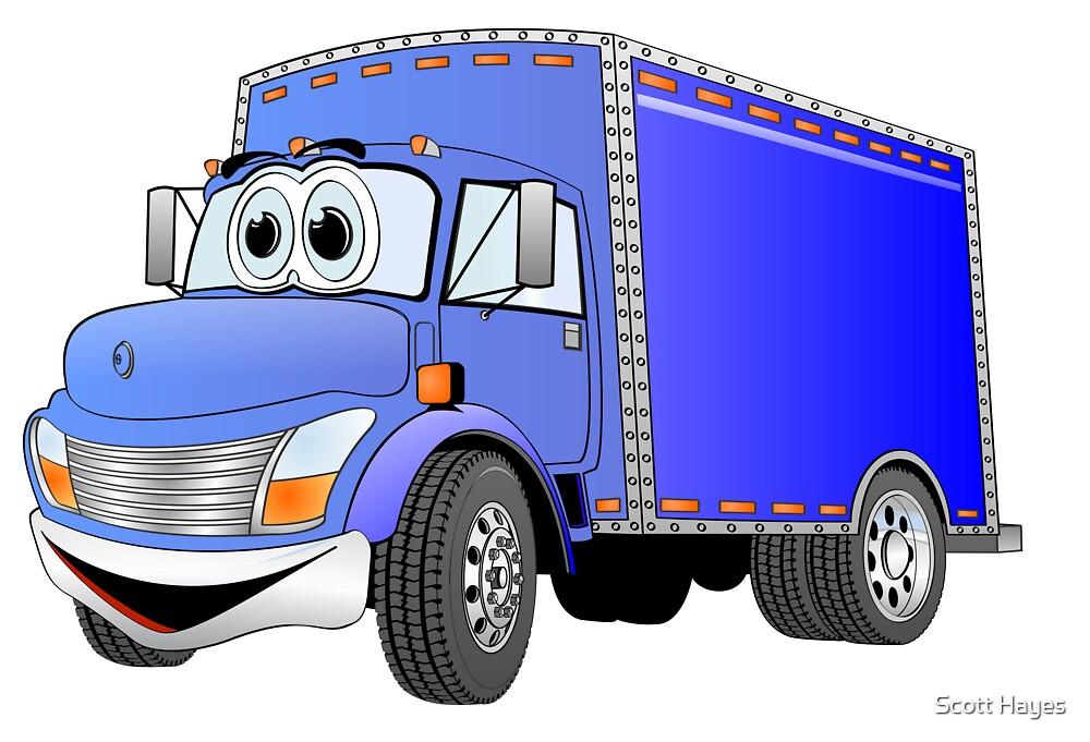 Box Truck Blue Cartoon by Graphxpro