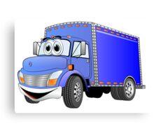 Box Truck Blue Cartoon Canvas Print