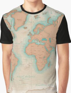 Vintage Style World Map Graphic T-Shirt