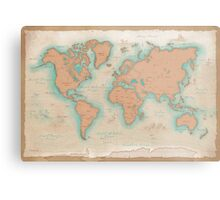 Vintage Style World Map Metal Print