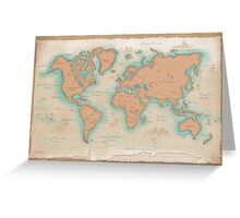Vintage Style World Map Greeting Card