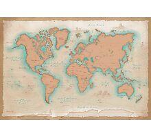 Vintage Style World Map Photographic Print