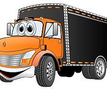 Box Truck Orange Black Cartoon by Graphxpro