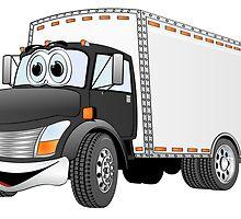 Box Truck Black White Cartoon by Graphxpro