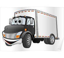 Box Truck Black White Cartoon Poster
