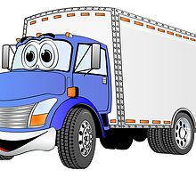 Box Truck Blue White Cartoon by Graphxpro