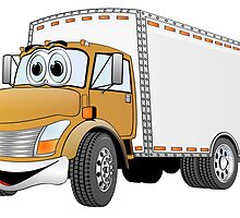 Box Truck Brown White Cartoon by Graphxpro