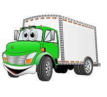 Box Truck Green White Cartoon Photographic Print