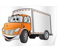 Box Truck Orange White Cartoon Poster
