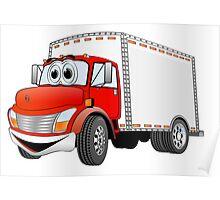 Box Truck Red White Cartoon Poster