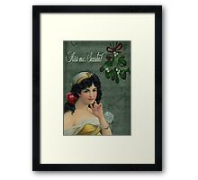 Kiss Me, Santa! Framed Print