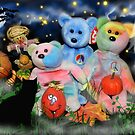 Peace Bear Family At Halloween by WildestArt