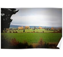 Farmlands From the Lyell Hwy Tasmania Poster
