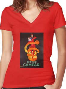 Campari Orange Women's Fitted V-Neck T-Shirt