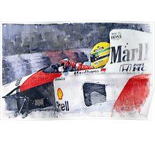 Ayrton Senna McLaren 1991 Hungarian GP Poster