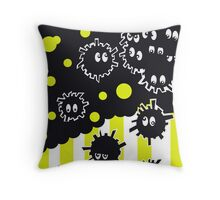 Soot Sprites with Yellow Stripes  Throw Pillow