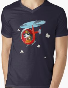 Helicopter dog Mens V-Neck T-Shirt
