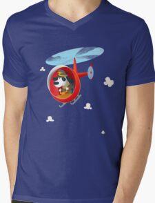 Helicopter dog Mens V-Neck T-Shirt