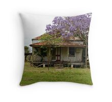 tin roof rusted at jacaranda Throw Pillow